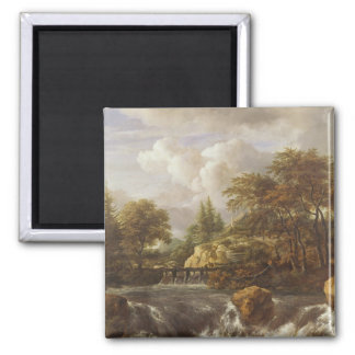 A Waterfall in a Rocky Landscape, c.1660-70 2 Inch Square Magnet