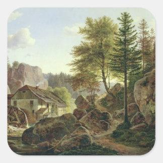 A Watermill in the Vosges near Ribanville, 1836 Square Sticker