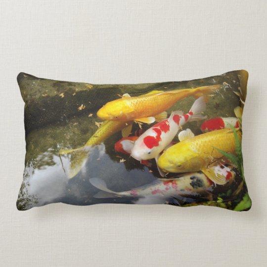 A waterway full of Japanese koi carps Lumbar Pillow