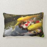 A waterway full of Japanese koi carps Pillow