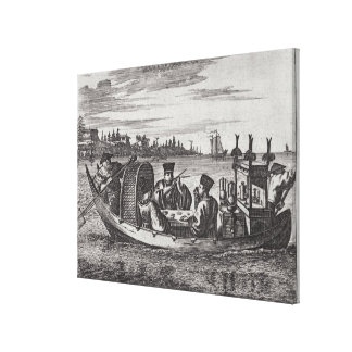 A Wealthy Mandarin Dining in a Boat, illustration Canvas Print