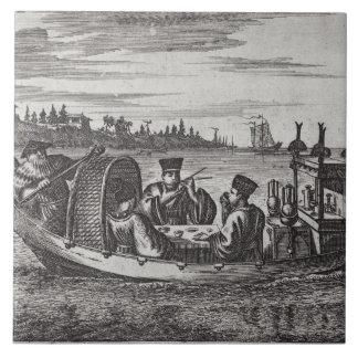 A Wealthy Mandarin Dining in a Boat, illustration Ceramic Tile