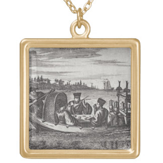 A Wealthy Mandarin Dining in a Boat, illustration Gold Plated Necklace