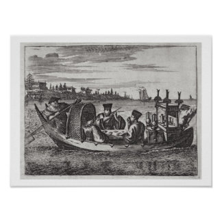 A Wealthy Mandarin Dining in a Boat, illustration Poster