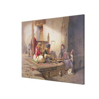 A weaver in Esna, one of 24 illustrations produced Canvas Print