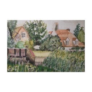 A Weir at Sandwich, England, Watercolour Canvas Print