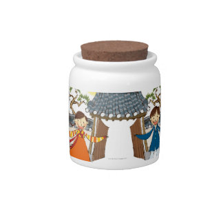 A Welcoming Boy and Girl Candy Jars