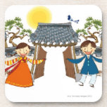 A Welcoming Boy and Girl Drink Coaster