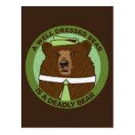 A Well Dressed Bear Is A Deadly Bear Postcard