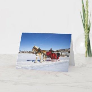 A Western Christmas - Horse Christmas Sleigh card