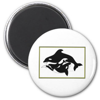 A Whale Family 2 Inch Round Magnet