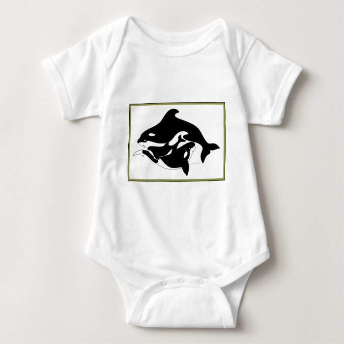 A Whale Family Baby Bodysuit