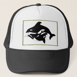 A Whale Family Trucker Hat