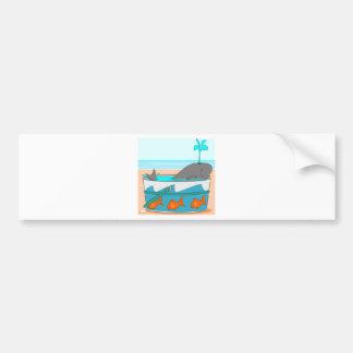 A Whale in a pail Car Bumper Sticker