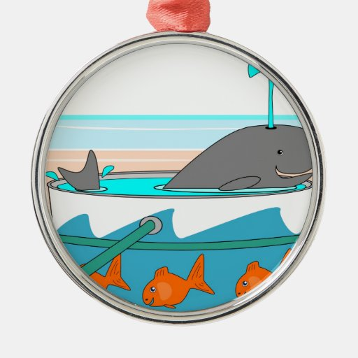 A Whale in a pail Round Metal Christmas Ornament