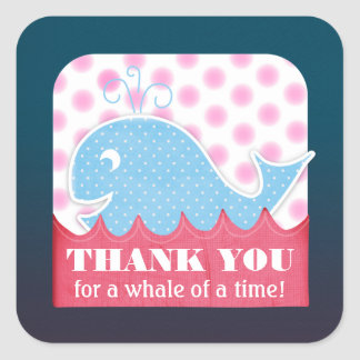 """A Whale of a Birthday """"Thank You"""" Tags Square Sticker"""