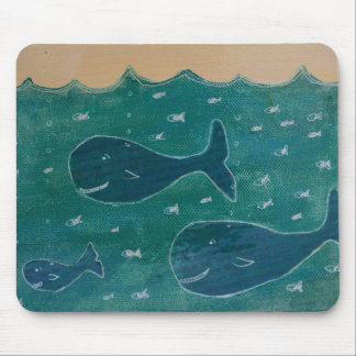 A Whale of a Tale Painting/ Collage in Blue Mouse Pad