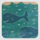 A Whale of a Tale Painting/ Collage in Blue Stickers