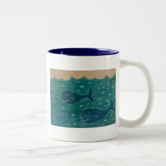 A Whale of a Tale Painting/ Collage in Blue Two-Tone Coffee Mug