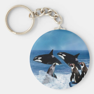 A whale of a world basic round button keychain