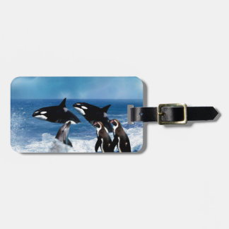 A whale of a world luggage tag