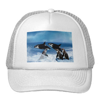A whale of a world trucker hat