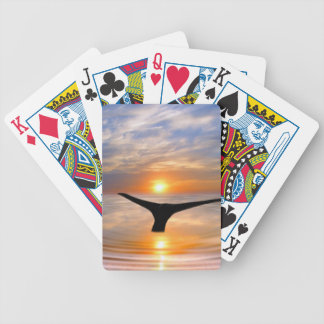 A whales tail at sunset bicycle playing cards