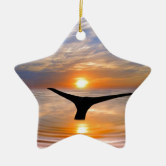 A whales tail at sunset ceramic ornament