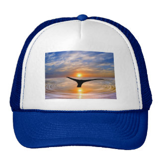 A whales tail at sunset trucker hat