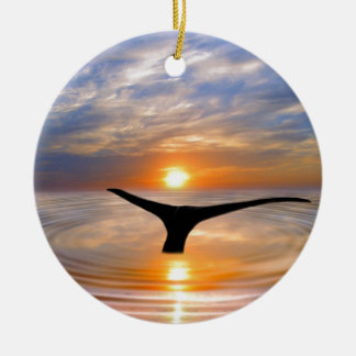 A whales tail at sunset Double-Sided ceramic round christmas ornament