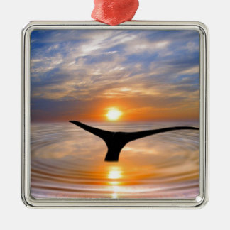 A whales tail at sunset square metal christmas ornament