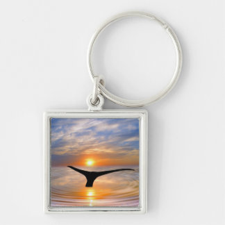 A whales tail at sunset Silver-Colored square keychain