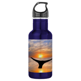 A whales tail at sunset water bottle
