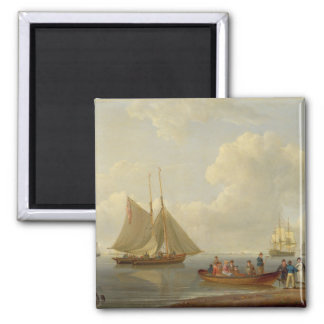 A Wherry Taking Passengers out to Two Anchored Pac 2 Inch Square Magnet