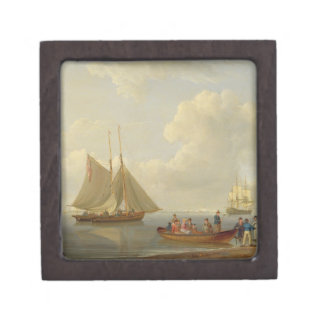 A Wherry Taking Passengers out to Two Anchored Pac Premium Trinket Box