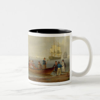 A Wherry Taking Passengers out to Two Anchored Pac Two-Tone Coffee Mug