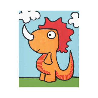 A whimsical dinosaur friend, cute and adorable. canvas print