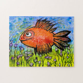 A whimsical Red Fish swimming in Nature! Jigsaw Puzzle