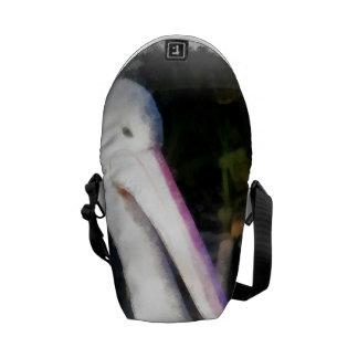 A white bird and its big beak messenger bag