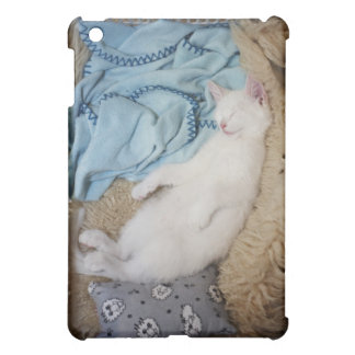 A white cat sleeping in a laundry basket, iPad mini covers