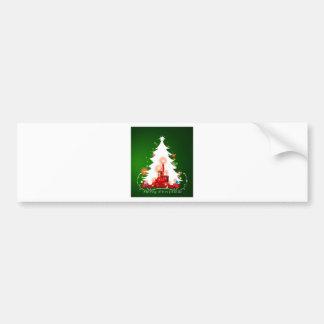 A white christmas tree bumper sticker