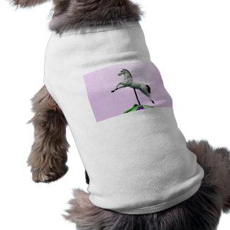 A white horse carousel statue against purple pet t-shirt