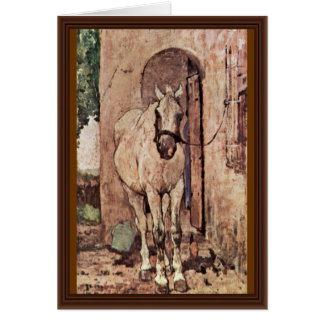 A White Horse In Front Of A Door Greeting Card