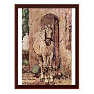 A White Horse In Front Of A Door Post Cards