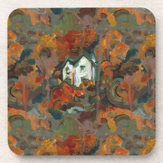 A White House & Autumn Trees Beverage Coaster