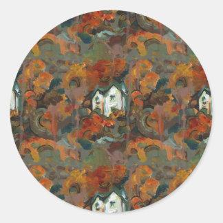 A White House & Autumn Trees Classic Round Sticker