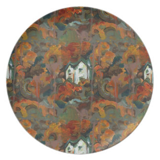 A White House & Autumn Trees Dinner Plate