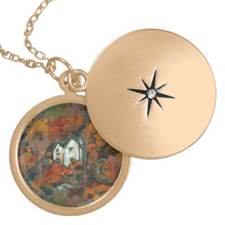 A White House & Autumn Trees Locket Necklace