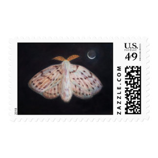 A White Moth and Crescent Moon with Earthshine Postage