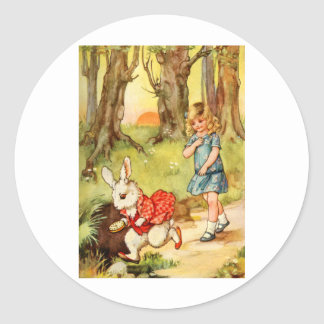 A WHITE RABBIT CAME RACING BY ALICE CLASSIC ROUND STICKER